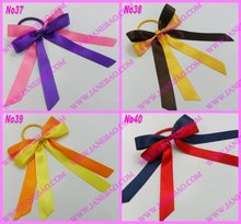 free shipping 30pcs mix color  Pony O Hair Bow Ponytail Streamers ponytail holder bows