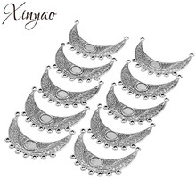 XINYAO 10pcs/lot Metal Alloy Pendants Charms With 7 Loop Antique Silver Color Single-Sided Curved Pendants Diy Jwelry Making(China)