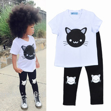 Kitty t-shirt  / kitty pants / girl outfits set / white t-shirt and black leggings