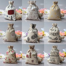 Mini Burlap Jute Cartoon Print Wedding Favor Gift Bag Drawstring Pouch Sack Send at Random Pattern