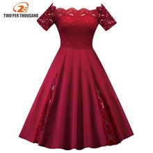 Buy 4XL 5XL Plus Size Women's Clothing Elegant Summer shoulder Lace Line 1950s Vintage Ladies Party Dresses Large Size 3XL for $13.33 in AliExpress store