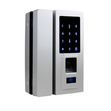 Free Shipping Code Keypad IC Reader Access Unlock Fingerprint Recognition Electric Lock Metal Panel for Glass Door Battery Power(China)