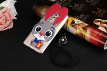 3D Judy Rabbit Cute Cartoon Lovely Cover Case For Huawei GR5 2017 /Honor 6X /Mate 9 Lite Soft Silicone TPU Case +Lanyard   MTZ1