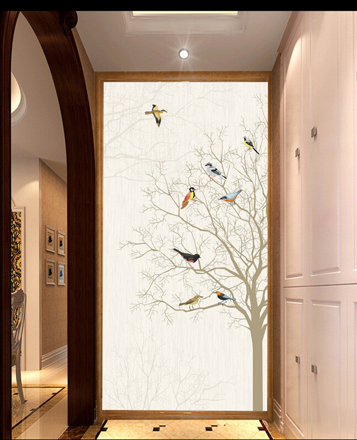 Custom simple elegant abstract tree birds porch background wall  papel de parede,hotel restaurant living room 3d wallpaper<br>