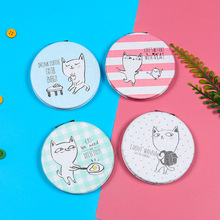 CN-RUBR Round Foldable Makeup Mirror Lady Cartoon Printing Double-sided Cosmetic Mirror Portable Compact Pocket Beauty Mirrors