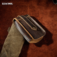 Leacool 2017 New Retro Crayz horse First Layer Genuine Cow Leather Men's Key Wallet Car Key Holder Bag Pack Button Belt+Key Ring