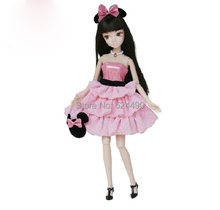 Legal Copy Genuine Original Desney Mickey Sculpt Style Jointed Kurhn Doll with Pink Dress Bag for Barbie Doll Free Shipping