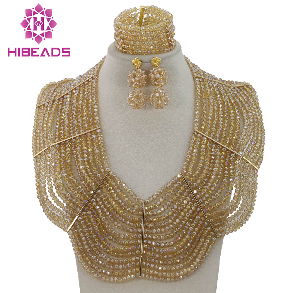 Exclusive Gold Nigerian Wedding African Beads Jewelry Set Crystal Dubai Bridal Jewelry Set Free Shipping GS200