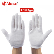 ABESO 12 pairs/lot White 100% Cotton Ceremonial gloves for male female Serving / Waiters/drivers/Jewelry Gloves A6001(China)