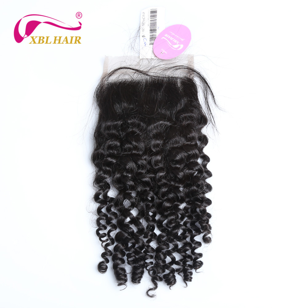 XBLHAIR Curly Lace Closure With Baby Hair Free Part Natural Color 130% Density Brazilian Human Hair Remy Free Shipping