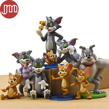 New 9 PCS Kawaii Tom and Jerry Figure Toys Cat Mouse Dog Cartoon Animals Model Kids Gift Collection Cake Topper Anime Juguetes