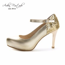 NEW 2017 spring autumn gold buckle round toe genuine leather high heels platform pumps sequined cloth wedding shoes for women(China)