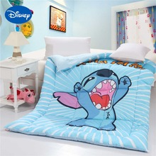 Disney Stitch Comforters Single Twin Queen Size Children's Quilt Cotton Fabric Autumn Winter Season Blue Color Cartoon Character(China)