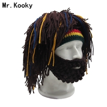 Mr.Kooky Wig Beard Hat Rasta Beanie Caveman Bandana Handmade Crocheted Gorro Winter Men's Halloween Costume Funny Birthday Gifts(China)