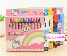 12 Colors For 1 Set Cartoon Hello Kitty Princess Mickey Minnie Car Spiderman Car Pastel Crayons Papelaria Set For Kids(China)