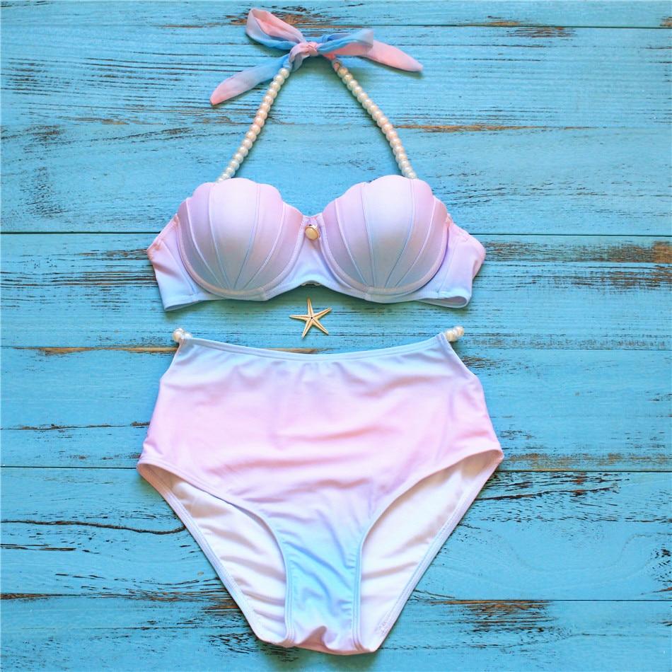 sexy bikini 2017 New women Hight quality shell bikini gradient print halter pattern high-waist swimwear sets<br><br>Aliexpress