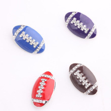 new mix 20pcs high quality rugby rhinestone enemal America football snap new button jewelry(China)
