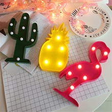 Cute Flamingo Night Light Plastic LED Marquee Sign Pineapple Cactus Lights Home Decor For Party Wedding Kids Room Gift