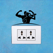 Sport Gym Fitness Body-Building Fashion Decor Wall Switch Stickers Decals Vinyl 5WS1459(China)