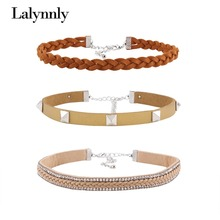 Lalynnly Newest Classic Trending  Choker Necklace Set  Knitted and Vintage Rivet Choker For Women N56271