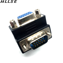 MLLSE Black Color 90 Degree Right Angle 15 Pin VGA SVGA Male to Female Converter Extender Adapter for Monitor Cable(China)