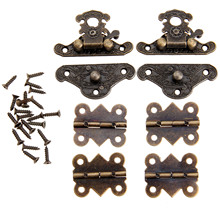 2Pcs Antique Bronze Jewelry Wooden Box Case Toggle Hasp Latch +4Pcs Cabinet Hinges Furniture Accessories Iron Vintage Hardware(China)