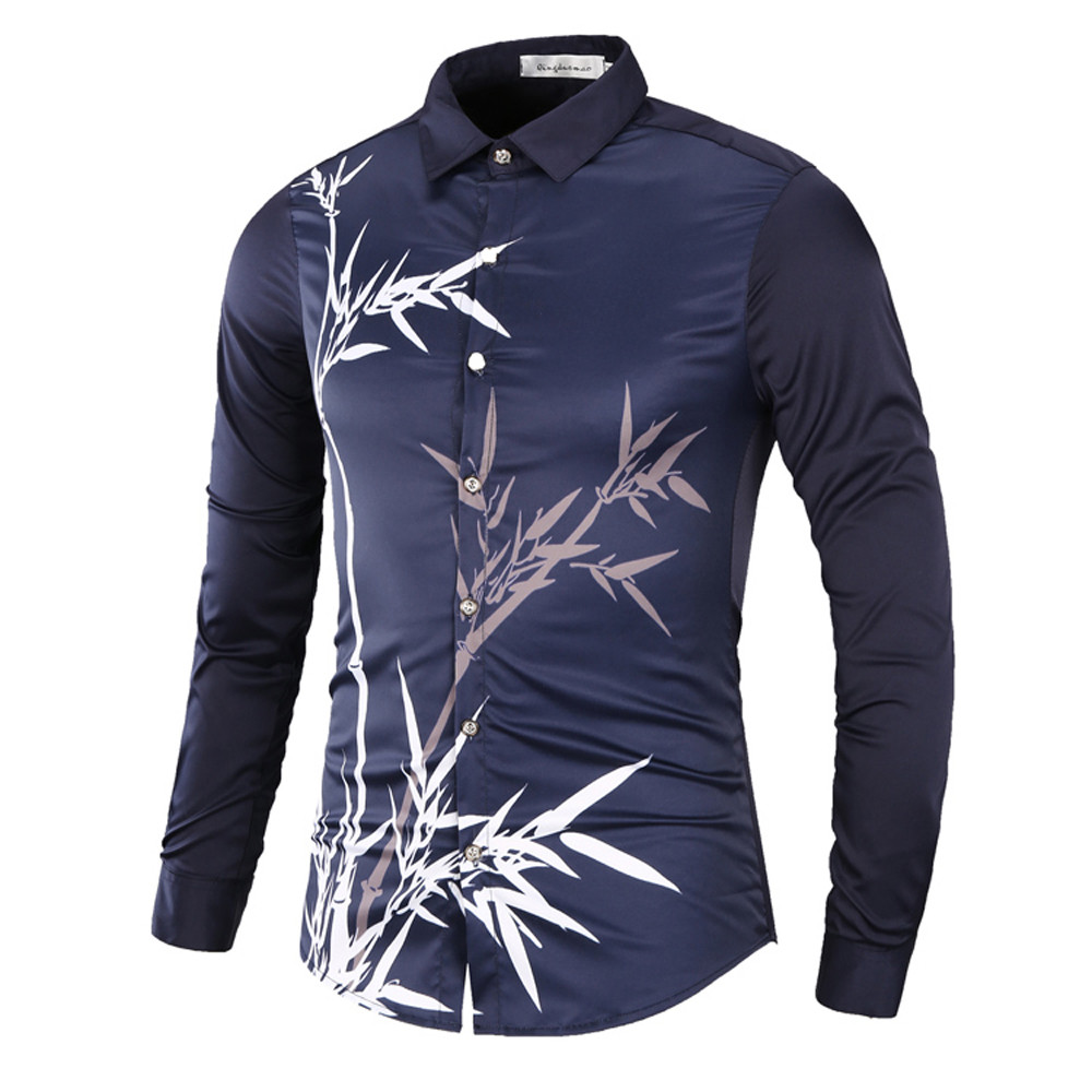 2019 New Fashion Men's Printed Blouse Casual Long Sleeve Slim Turn-down Collar Shirts Tops camisa masculina