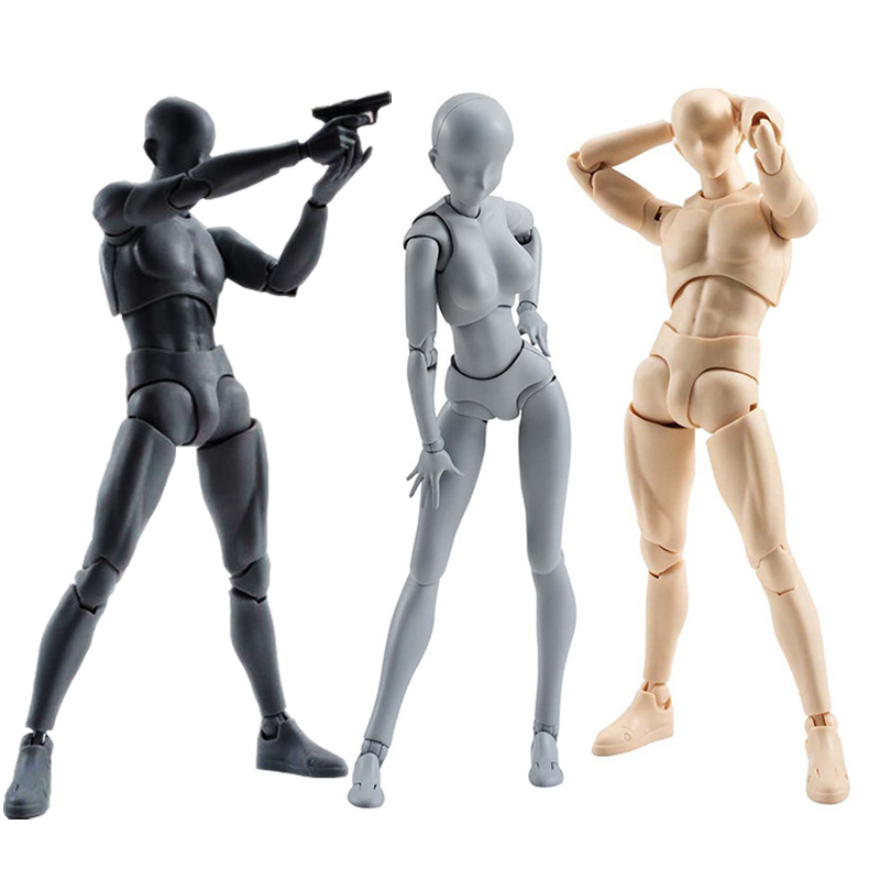 High Quality SHFiguarts BODY KUN / BODY CHAN Body-chan Body-kun Grey Color Ver. Black PVC Action Figure Collectible Model Toy<br>