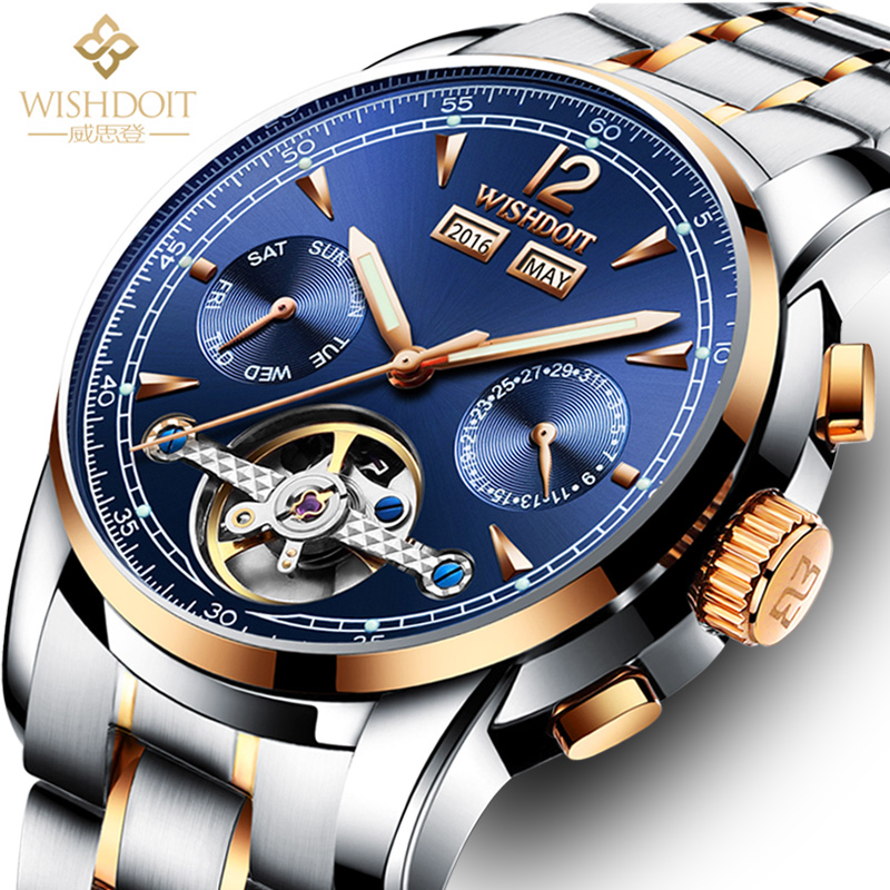 WISHDOIT mens watchs top brand luxury mens business mechanical watch 50ATM waterproof military male clock Relogio Masculino men<br>