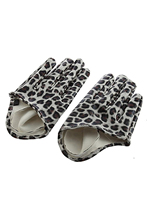 Women's Faux Leather Five Finger Half Palm Gloves Leopard(China)