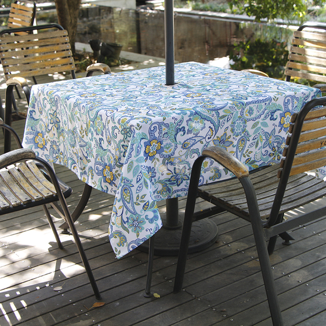 Ufriday Fashion Paisley Zipper Tablecloth Outdoor Square Round Waterproof Table Cloth Umbrella Hole Cover