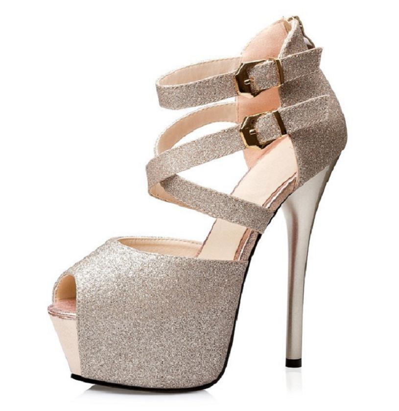 black silver gold blue women glitter shiny blingbling wedding bridal shoes peep toe cross strap buckles platform ultra high heel<br><br>Aliexpress