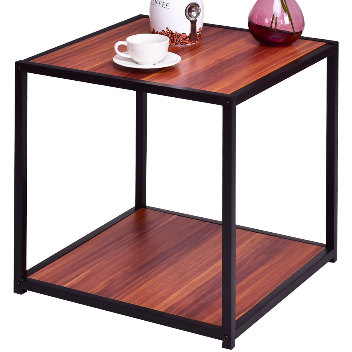 Giantex End Table Side Sofa Square Modern Coffee Tables Tea Stand Living Room Furniture Decor With Bottom Shelf HW55399<br>