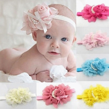 2017 Fashion children Headband 1pcs Rose Pearl Newborn Headband Baby Girls Infant Headband Hair Accessories 12 colors(China)