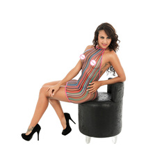 Buy New style women's sexy underwear Colorful stripes transparent sexy lingerie tight skirt Ladies erotic costumes babydolls W8027