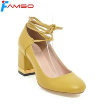 FAMSO Size34-43 2018 New Spring Shoes Yellow Gold Heels Round Toe Lace-up Cross-tied Autumn Platforms Pumps For Women's D2028(China)