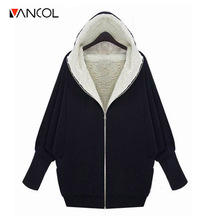 Vancol 2016 Autumn Winter European Thick Lambs Wool Hooded Jacket Oversize weater Coat Thicken Black Grey Loose Hoodies Women