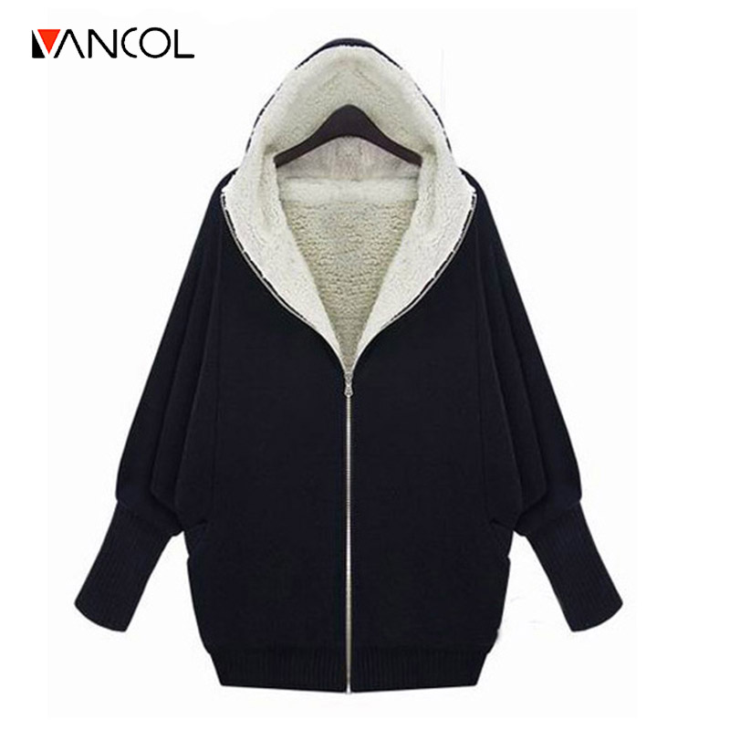 Vancol 2016 Autumn Winter European Thick Lambs Wool Hooded Jacket Oversize weater Coat Thicken Black Grey Loose Hoodies Women(China (Mainland))