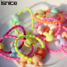 50pcs isnice 2017 cartoon Candy Color Kids Elastic Hair Rope Ponytail Band Ties Girls Hair Accessories