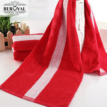 Luxury 100% Cotton Personalized Custom Embroidery Striped Sport Towel 35*110cm Red Towels Golf Yoga(China)