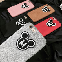 "Fashion Luxury Pink Plush Mickey Mouse Fundas Case For iphone 6 6s 7 4.7inch Furry Hard Covers For iPhone 6plus 7Plus 5.5"" Coque"