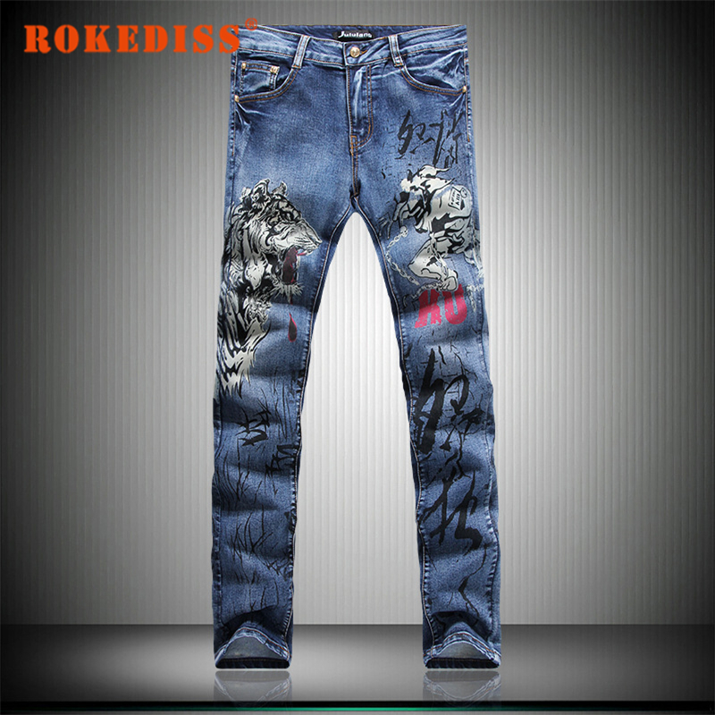 2017 New arrival mens autumn winter jeans warm men brand jeans high quality Casual men jeans wolf printed pants Plus Size G256Одежда и ак�е��уары<br><br><br>Aliexpress