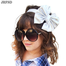 JRFSD New Cute Cool Shining Bow Knot Elasticity Headband kidsHair Accessories DIY Hair Bands B8(China)