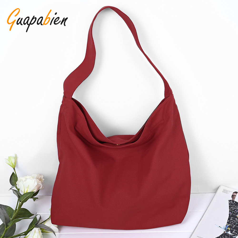 Guapabien Fashion Women Solid Color Canvas Shopping Bag Large Capacity Travel Shoulder Bags Black Red Blue Girls Book Handbags<br><br>Aliexpress