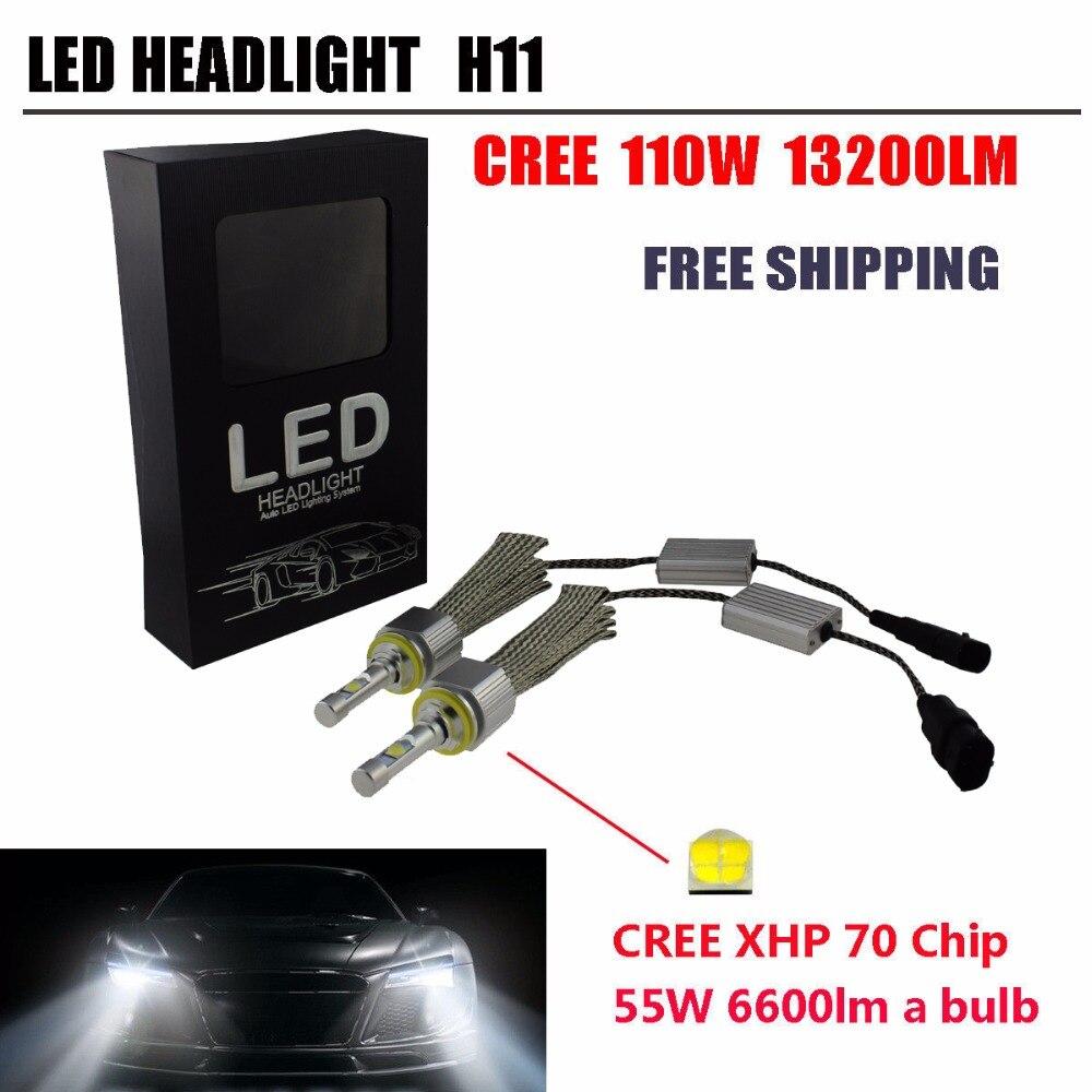 2017 110W 13200Lm Car H11 LED Headlight H8 H9 H11 Xenon White 6000K CRE-E XHP-70 Chips Car LED Headlight Bulbs<br><br>Aliexpress