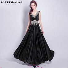 SOCCI 2017 Black Long Evening Dresses Crystal Shining Star Queen Style V neck Lace up Back Prom Dress Formal Wedding Party Gown(China)