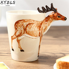 XYZLS Personality 3D hand-painted animal ceramic mug creative coffee milk water handgrip mug 13 styles