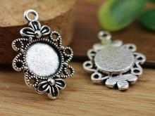 16pcs 12mm Inner Size Antique Silver Fashion Style Cabochon Base Cameo Setting Charms Pendant (A2-16)(China)