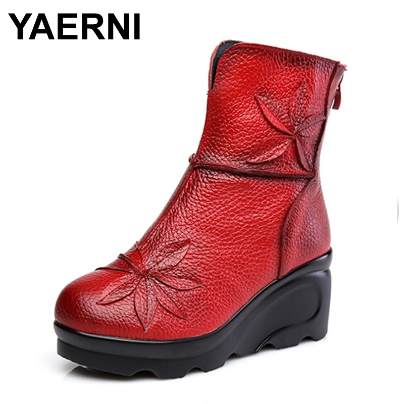 YAERNI New Fashion Genuine Leather Womens Boots Winter Shoes Casual Women Wedges Shoes Handmade Woman Ankle Boots<br>