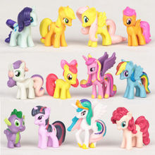 5cm 12 Pcs Set cute little pvc horse Sets Toys For Children Gift,Cartoon Children Action Figure Vinyl Doll Toys free shipping(China)